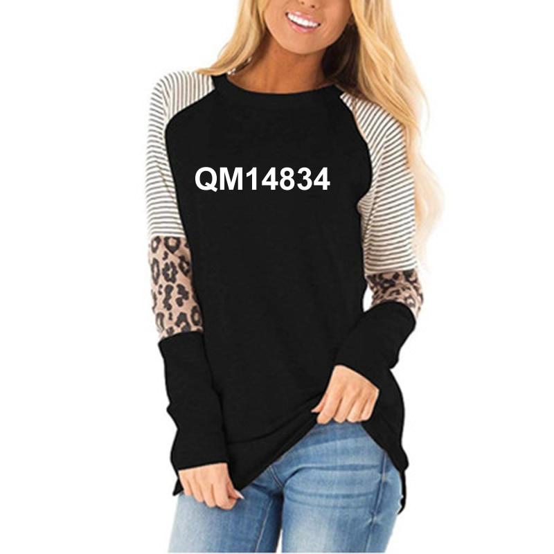 Nowe mody wybierz radość litery liście T-Shirt z nadrukiem dla kobiet wzór w cętki szyi z długim rękawem T-Shirt kobiet kobiet topy Plus Size 1
