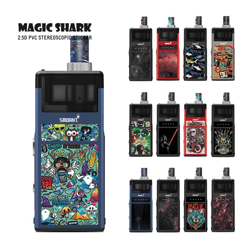 Magic Shark 2019 New Wolf Flower Graffiti Skull Star War Film Cover Pod Vape Sticker Case for Smoant Pasito image