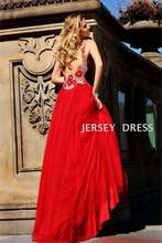 Бесплатная доставка Длинное Красное длинное платье с v образным
