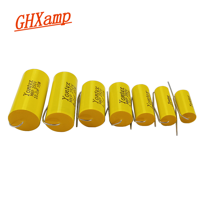 GHXAMP Speaker Crossover Capacitance Capacitor 1.0uF-10uF/250V MKP Metal Film Center Threading For HIFI Audio Accessories 1pc