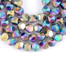 """цена Natural Faceted Multicolor Czech Crystal Stone Round Loose Beads For Jewelry Making 8mm Spacer Beads Fit Diy Bracelet 15""""Strand онлайн в 2017 году"""