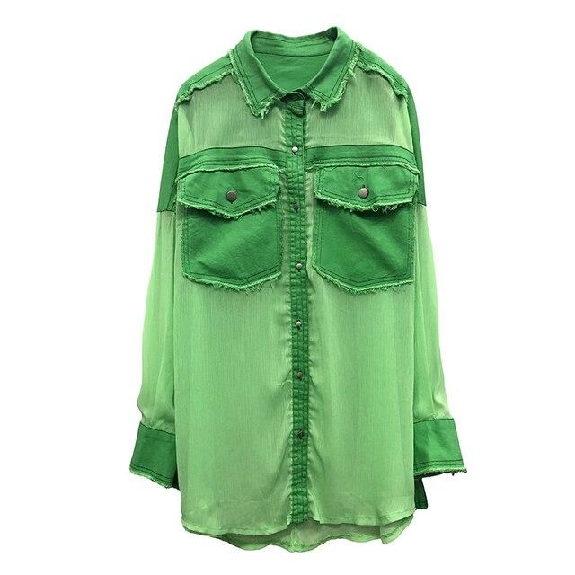 Chemise BONJEAN Denim Patchwork pour femmes | Ample, hauts et chemisiers, manches longues, Chemise Femme en mousseline verte BJ1626, 2020