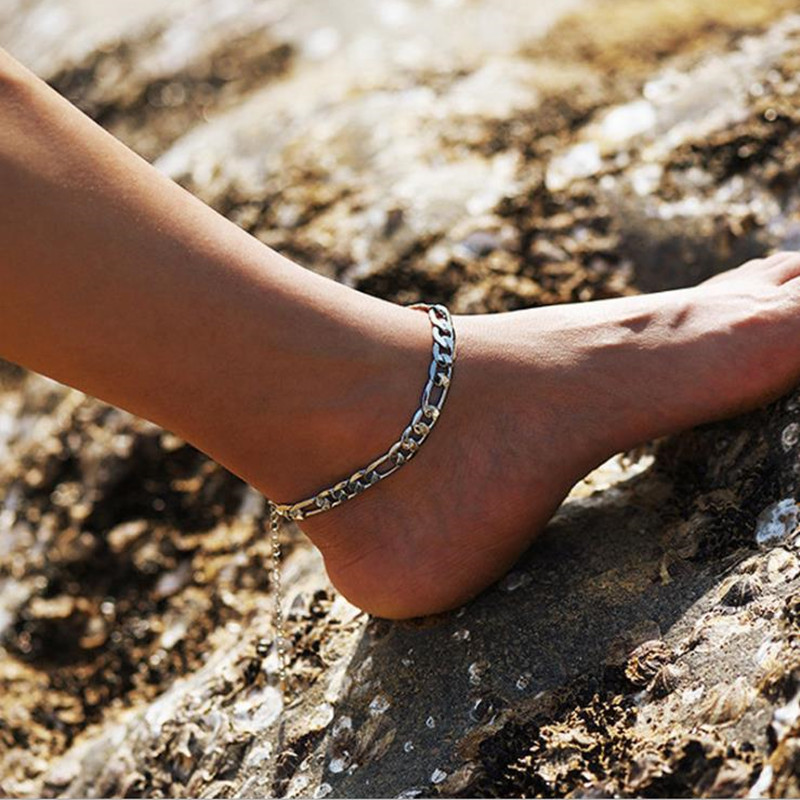 Punk Anklet For Women Golden Silver Color Summer Beach Anklets On Foot Ankle Bracelets For Women Leg Chain Simple Chain Jewelry