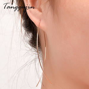 Tanggujin 1Pair Women Earrings Lady Fish Shaped Wire Simple Woman Brooch Earring Hollow Girls Gold Silver Earring Jewelry