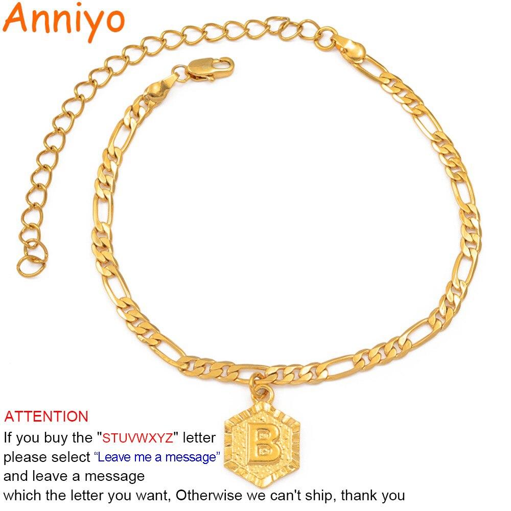 Anniyo 21 см + 10 см расширителя цепи/A-Z начальной анклет с буквами для Для женщин модные ювелирные украшения с надписями подарки ножной браслет д...