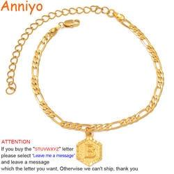 Anniyo 21 см + 10 см расширителя цепи/A-Z начальной анклет с буквами для Для женщин модные ювелирные украшения с надписями подарки ножной браслет