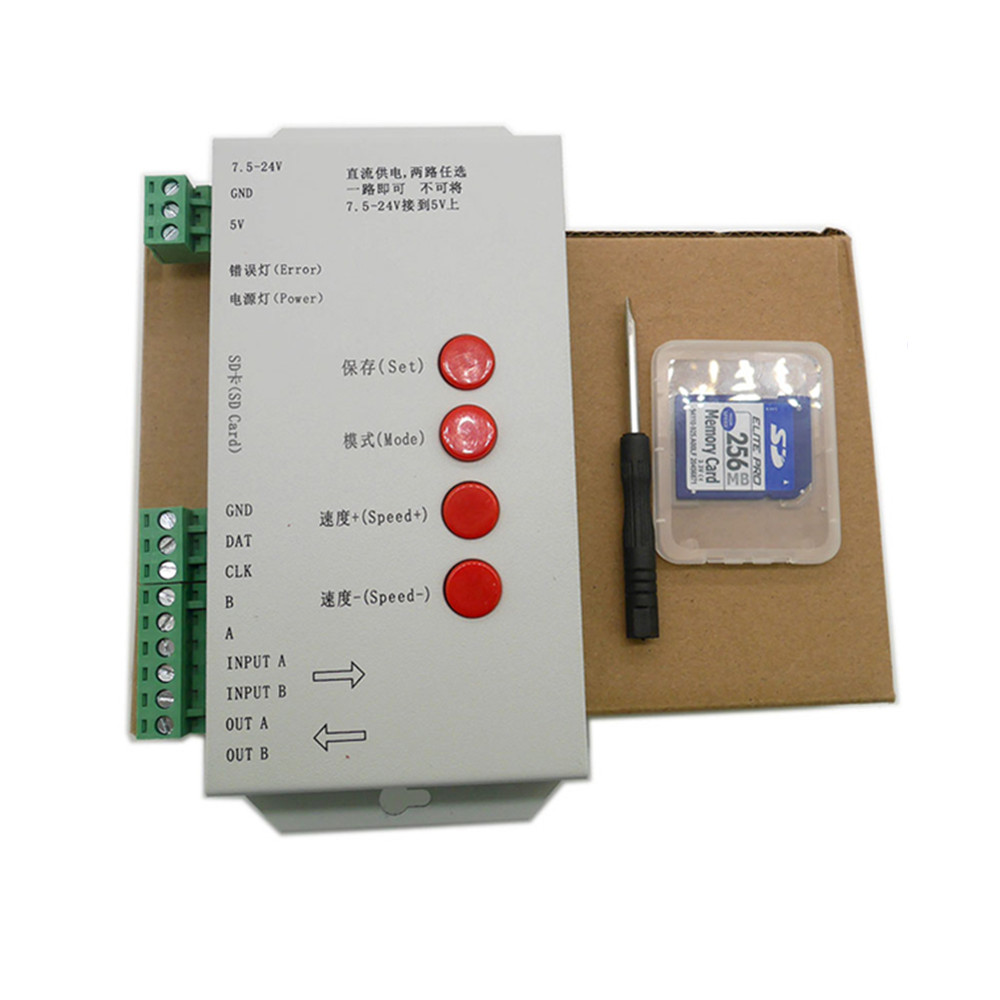 LED RGB controller T1000S SD Card Pixels Controller ,for WS2801 WS2811 WS2812B LPD6803 LED 2048 DC5~24V
