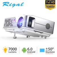 Rigal RD826 Native 1920x 1080P Projector Full HD Projector 7000 Lumens Proyector Android 6.0 Projector Home Theater Cinema