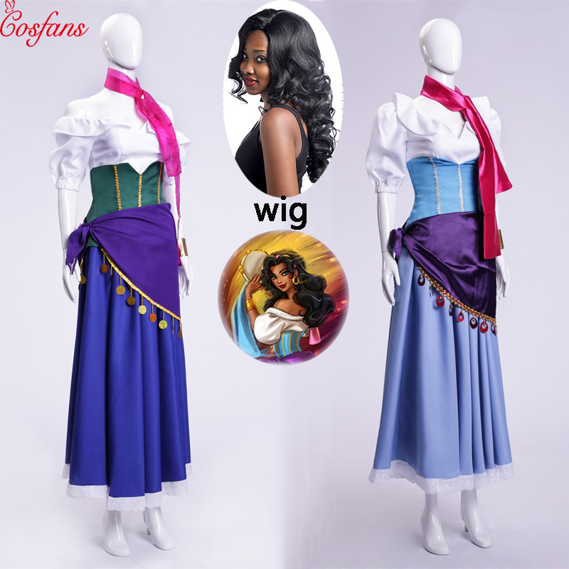 5PCS The Hunchback Of Notre Dame Esmeralda Cosplay Costume Purple Blue Partywomen Girl Dress Halloween Cosplay Costume And Wig