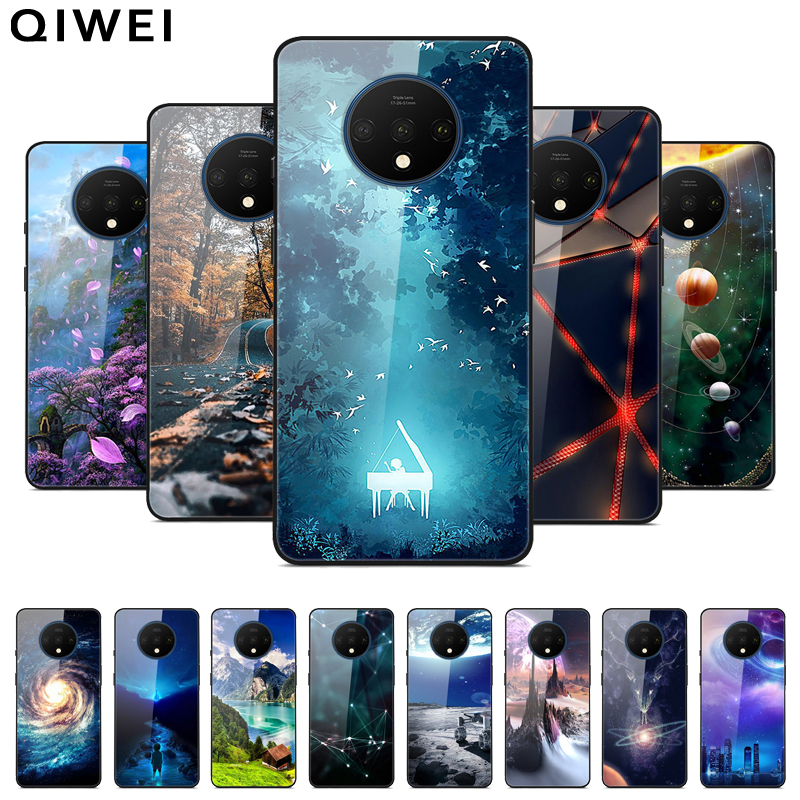For OnePlus 7T Case 6.55'' Fashion Glass Hard Back Cover For One Plus 7T Phone Cases silicon bumper Funda for Oneplus7T 7 T capa