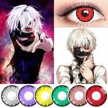 2 pçs cosplay anime lentes tóquio ghoul lente lentes de contato para olhos vampiro lentes coloridas lentes vermelhas cinza cor lente olhos