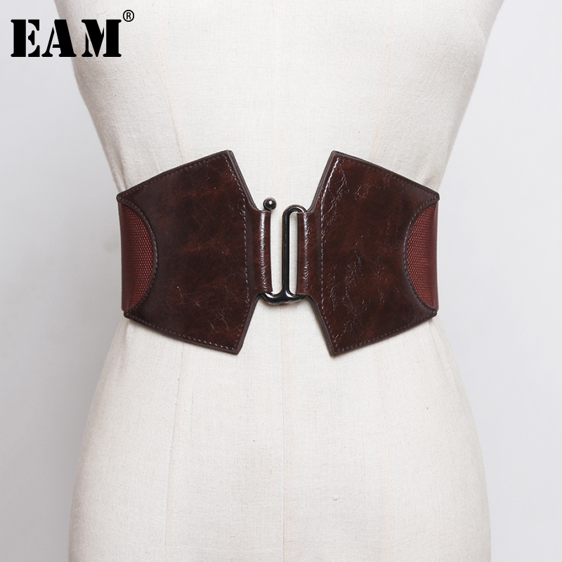 [EAM]  Pu Leather Multicolor Black Elastic Long Wide Belt Personality Women New Fashion Tide All-match Spring 2020 1R118