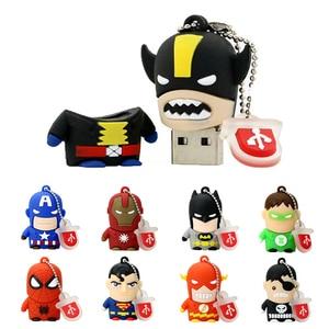 Cartoon Super Hero Personalised Pendrive 256 32 GB Cle Usb Stick 4GB 16GB 64GB 32GB 128GB Memoria USB Flash Drive Superman Gift