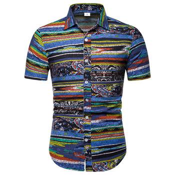 W stylu Vintage Paisley koszula mężczyźni Camisa Masculina 2019 lato nowy krótki rękaw męskie koszule Slim Fit plaża koszula hawajska męskie 5XL tanie i dobre opinie Liva girl Casual Shirts COTTON Linen Pojedyncze piersi Men Shirt Suknem Print Skręcić w dół kołnierz Na co dzień REGULAR