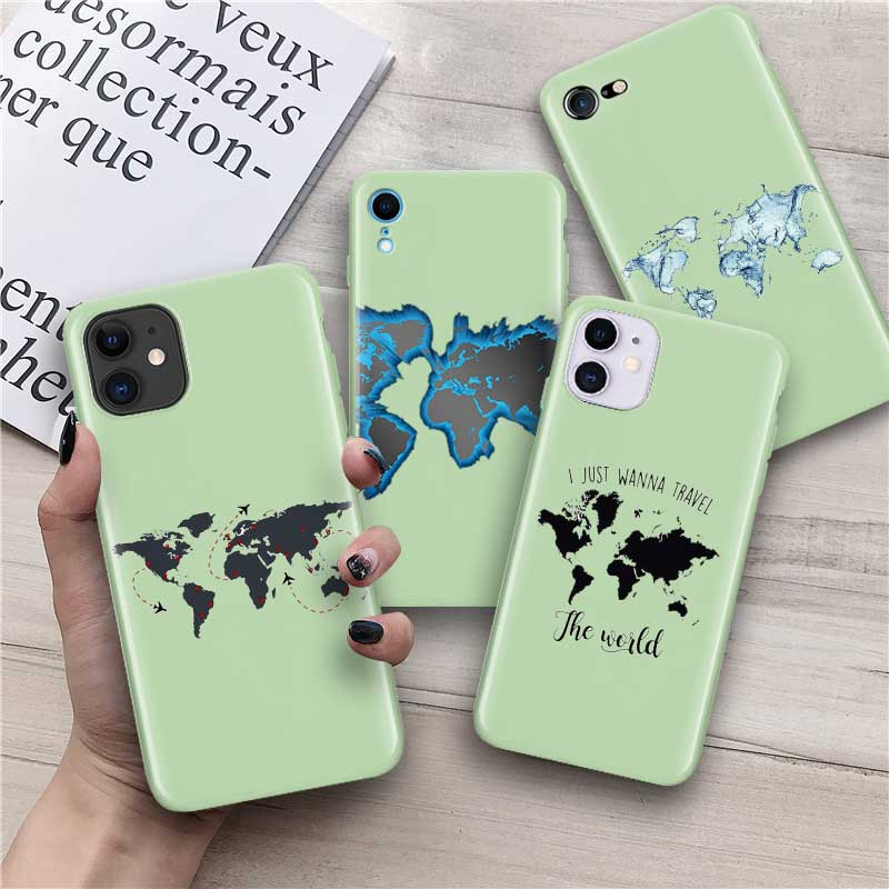 Case for iPhone 8 7 Plus 6 6S Plus SE 2020 11 Pro XS MAX X XR Candy Colors Green Phone Silicone Thin Fall Cover Shell World Map image