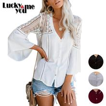 2020 New Arrive Womens Spring Summer Lace Pattern Patchwork Shirt Female V-neck Long Flare Sleeve Loose Casual Thin Tops Blouses