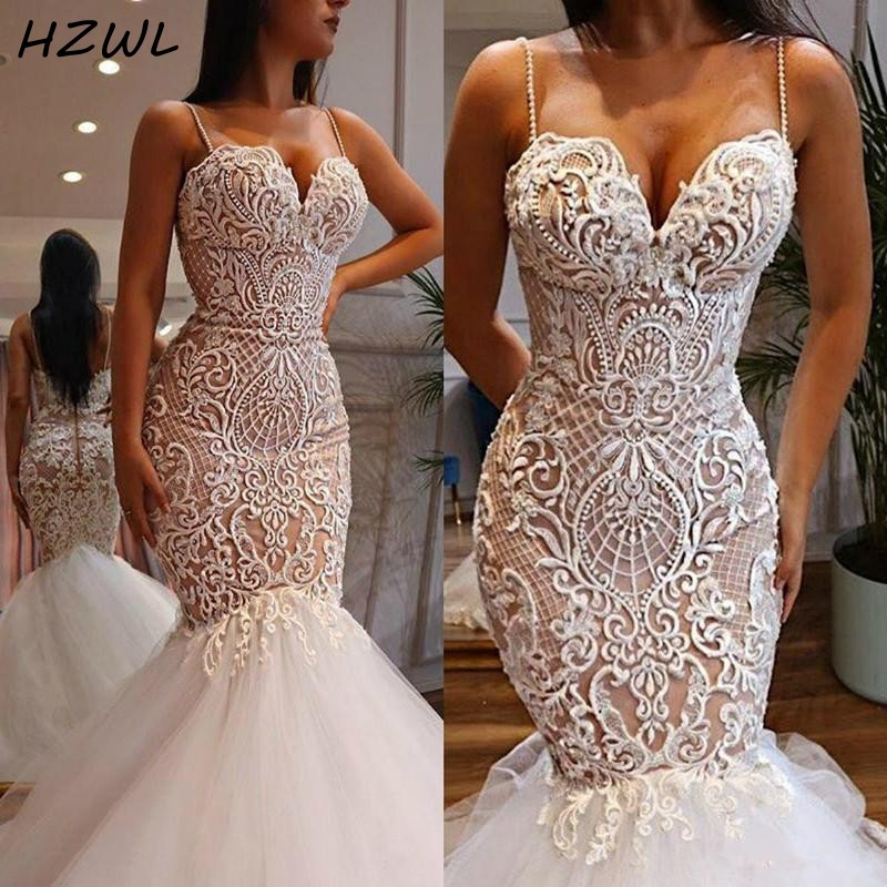 Sexy Mermaid Wedding Dresses With Spaghetti Straps Beads 3D Lace Appliques Bridal Dress Zipper Back Plus Size Vestido De Novia