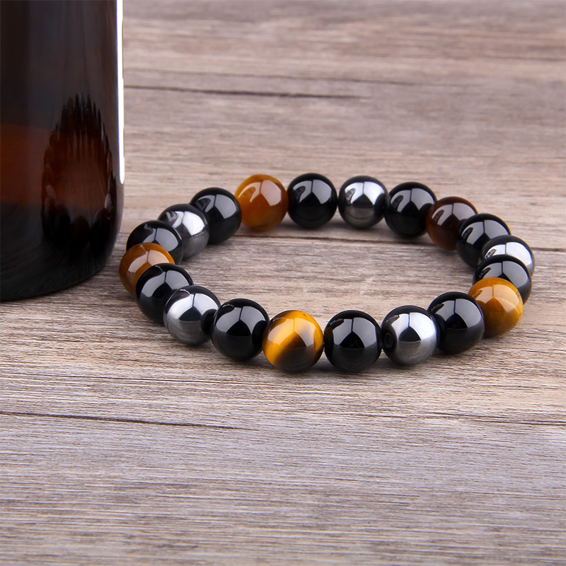Natural Black Obsidian Hematite Tiger Eye Beads Bracelets Men for Magnetic Health Protection Women Jewelry Pulsera Hombre 1