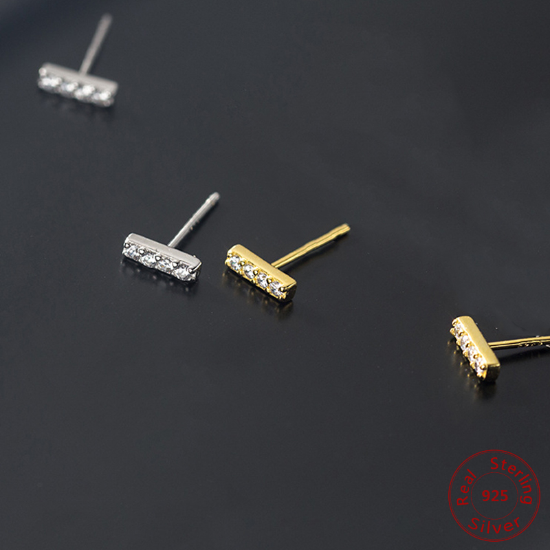 2020 Fashion T Shape Stud Earrings For Women Minimalist 925 Sterling Silver Geometric Earrings T Bar Line Zircon Wedding Jewelry