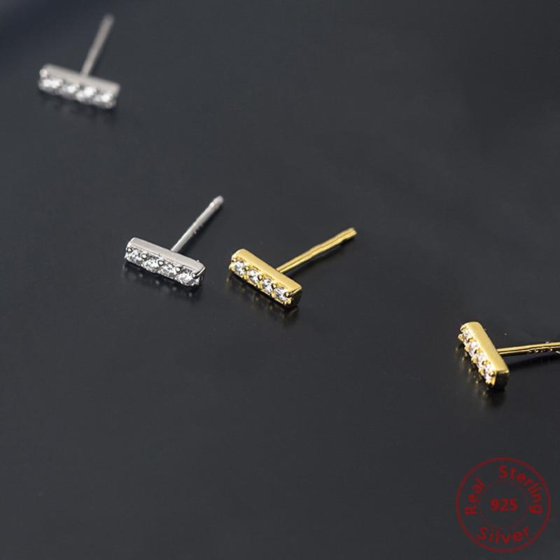 2020 Fashion T Shape Stud Earrings For Women Minimalist 925 Sterling Silver Geometric Earrings T Bar Line Zircon Wedding Jewelry