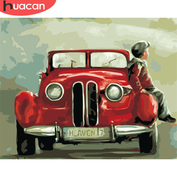 HUACAN DIY Pictures By Number Scenery Kits Painting By Numbers Car Drawing On Canvas Hand Painted Paintings Art Gift Home Decor
