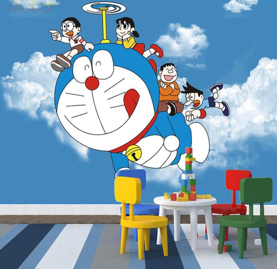 Milofi Kustom 3D Wallpaper Mural 3D Kartun Doraemon Wallpaper Anak Kamar Tidur Gadis Kamar Latar Belakang