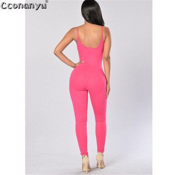 Long Jumpsuit for Women 2019 Summer Round Neck Sleeveless Jumpsuits Sexy Backless Sportswear Slim Solid Color bodycon Jumpsuits 2
