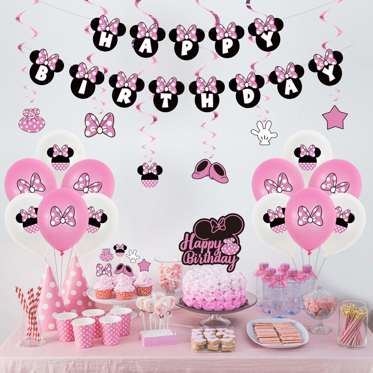 Rosa minnie mouse balões definir aniversário capina festa de decoração suprimentos disney bonito banners bolos decoração crianças chuveiro presentes