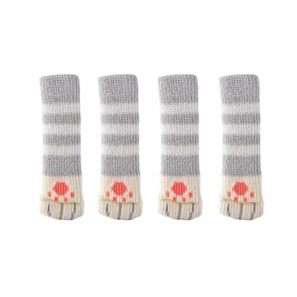 4 шт. Стул носочки для ног ткань защита пола вязаные шерстяные носки противоскользящие настольные ножки для мебели чехол для ног Когтеточка 88