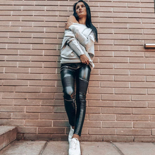 Melody Black Leather Skinny Jeans Womens Zipper Low Rise Petite Leather Pants Ladies Winter Leggings Sports Shaping Pants