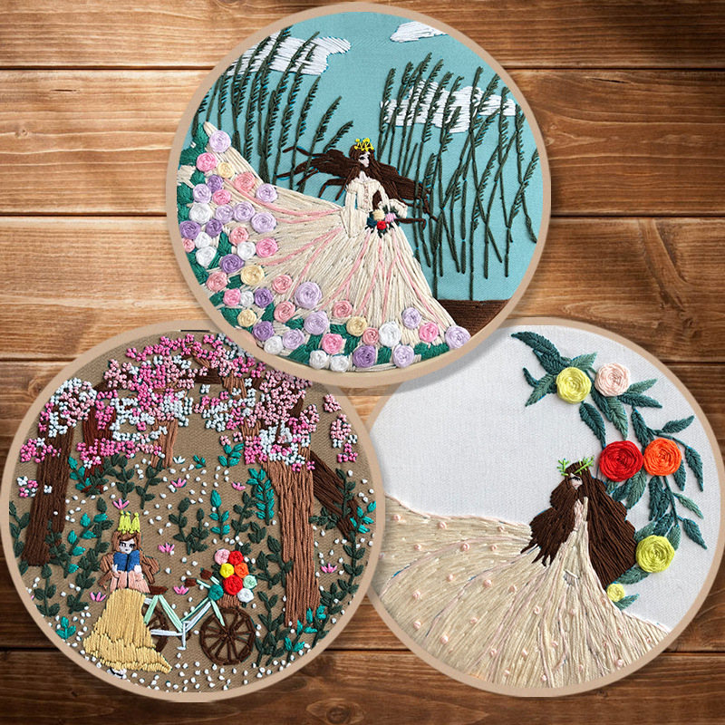 DIY Ribbon Embroidery Set for Beginner Needlework Kits Romantic cycling girl Cross Stitch Series Needle Arts Crafts Sewing Decor