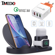10W QI Fast Wireless Charger Stand for iPhone X AirPods Watch Series 4/3/2/1 QC 3.0 USB Quick charger for Oneplus Xiaomi Samsung