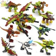 HUIQIBAO 8 adet/takım Jurassic dinozor yapı taşları Tyrannosaurus dünya Rex Velociraptor parkı rakamlar tuğla çocuk oyuncakları hediye