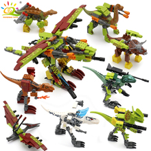 HUIQIBAO 8pcs/Set Jurassic Dinosaur Building Blocks Tyrannosaurus World Rex Velociraptor Park Figures Bricks Children Toys Gift