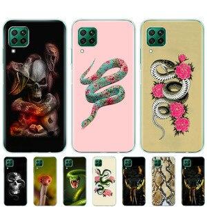 Силиконовый чехол для телефона huawei p40 lite E p40 pro, чехол для huawei Y7P Y6S Y9S NOVA 5T, черный чехол со змеиным черепом