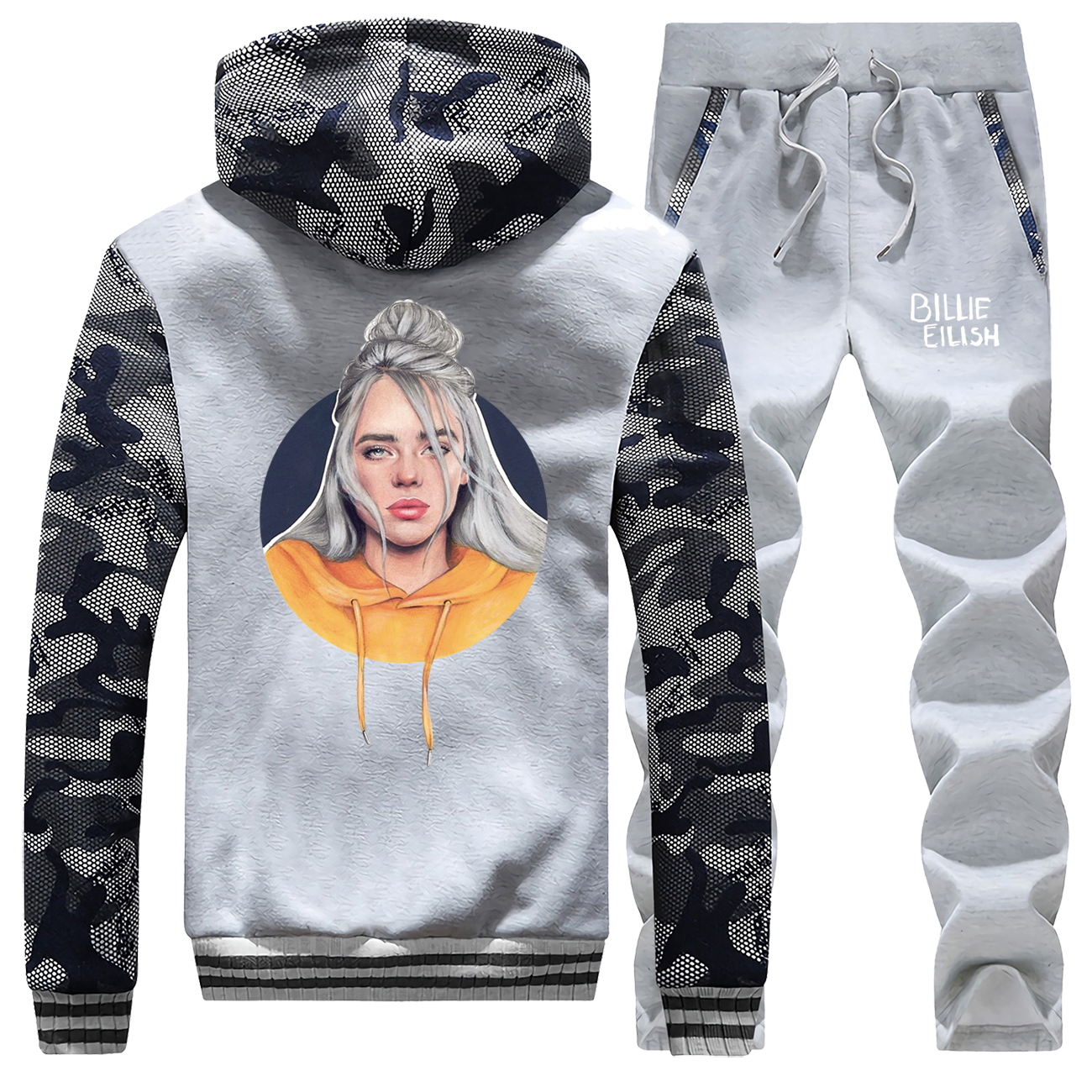 Billie Eilish Male Set Bad Guy Hip Hop Camo Hoodies 2019 Winter Coat Thick Punk Mens Wear Fashion Jackets Complete Man Tracksuit