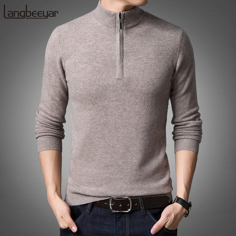 100% Wool New Fashion Brand Sweater Man Half Zip Pullover Slim Fit Jumpers Knitwear Winter Warm Zipper Casual Mens Clothes