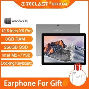 Teclast X6 Pro Tablet Netbook Windows 10 Touch Screen Intel M3-7Y30 8GB RAM 256GB SSD 12.6 Inch 2880*1920 FHD IPS USB3.0(China)
