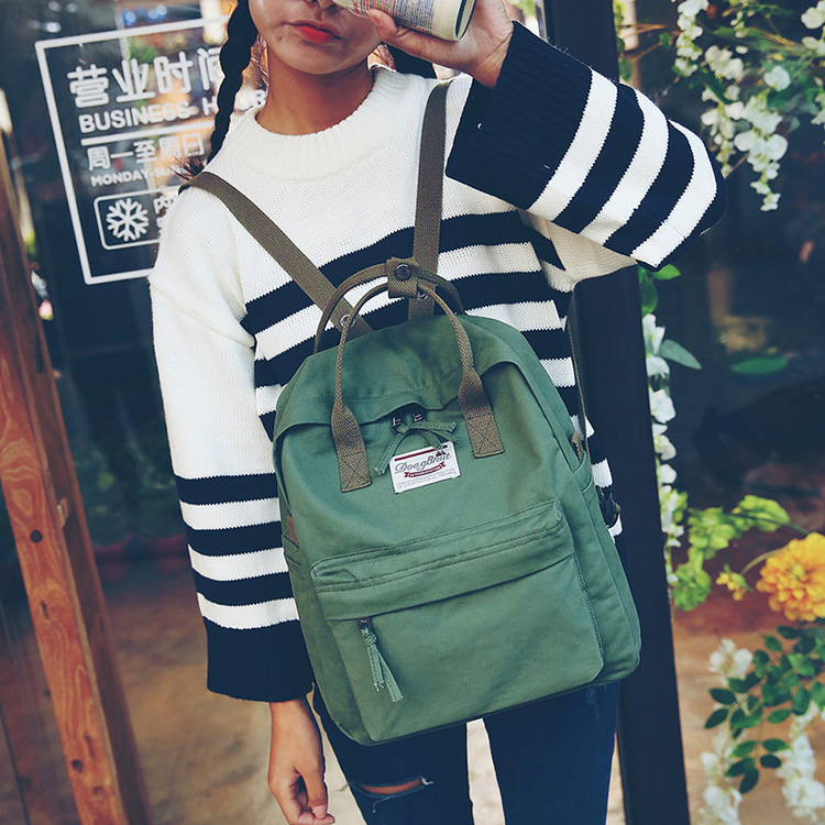 Fashion Backpack classic canvas backpack young college students laptop bags leisure travel outdoor hiking waterproof backpacks image
