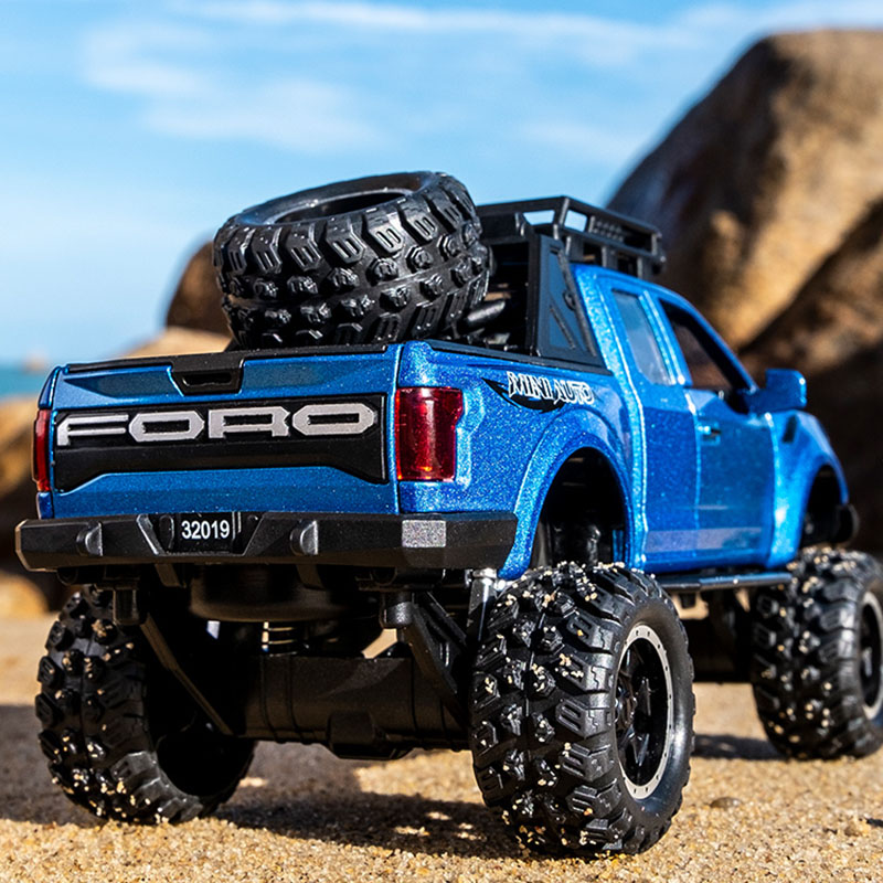 1:32 Pickup Truck Toy Ford Raptor F150 Big Wheel Sound Light Sliding Car With Motorcycle For Kids Toys Gifts Alloy Diecast Car