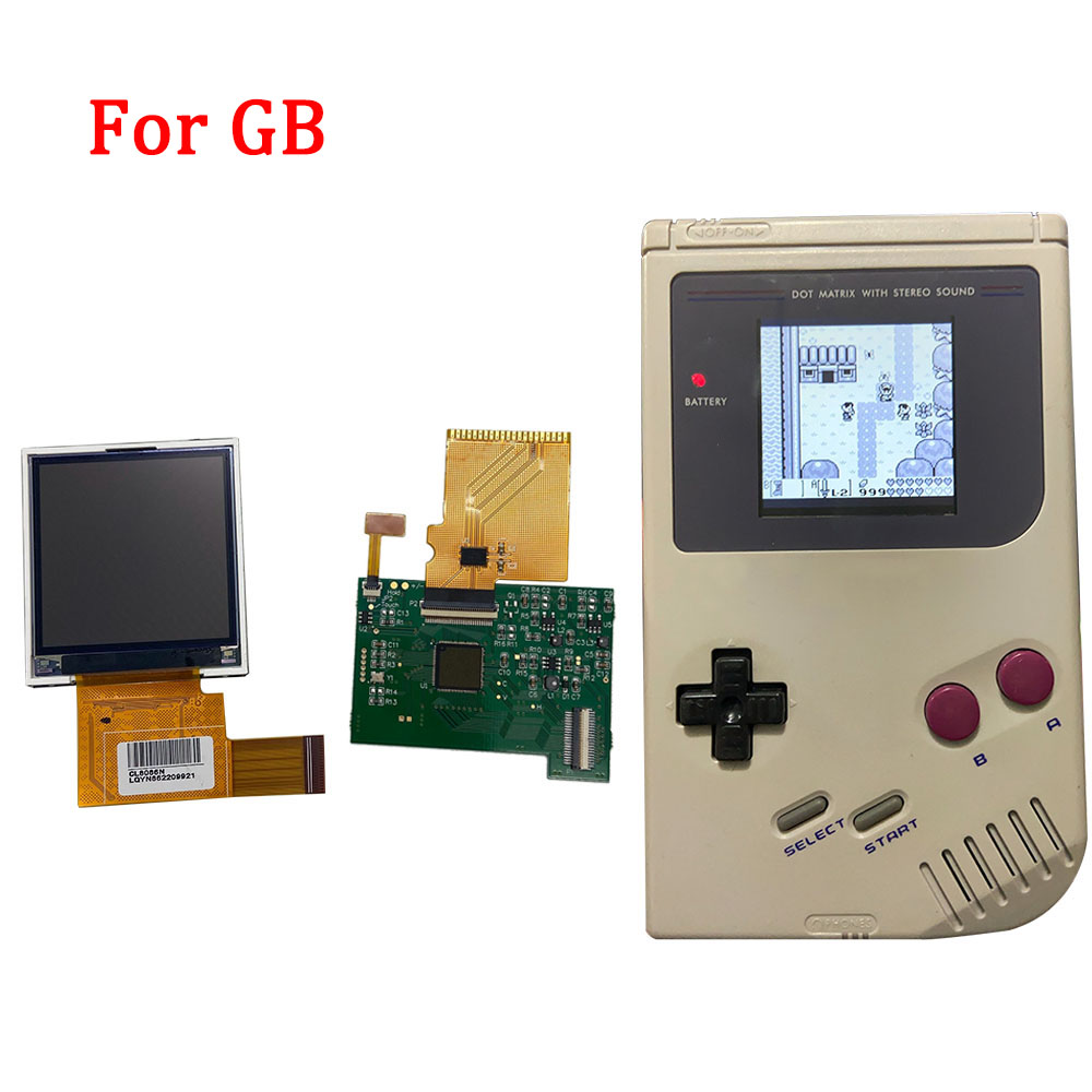 Backlight LCD Kits for Nintend GB backlight lcd screen High Brightness LCD with ribbon cable Replacement for GB DMG GBO Console