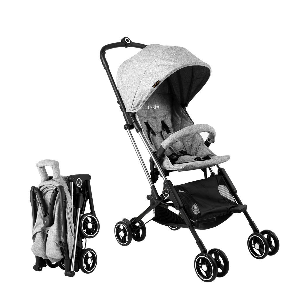 Compact U-kiss Baby Stroller One Hand Opening & Folding Lightweight Baby Stroller For Infant Convertible Baby Carriage Grey