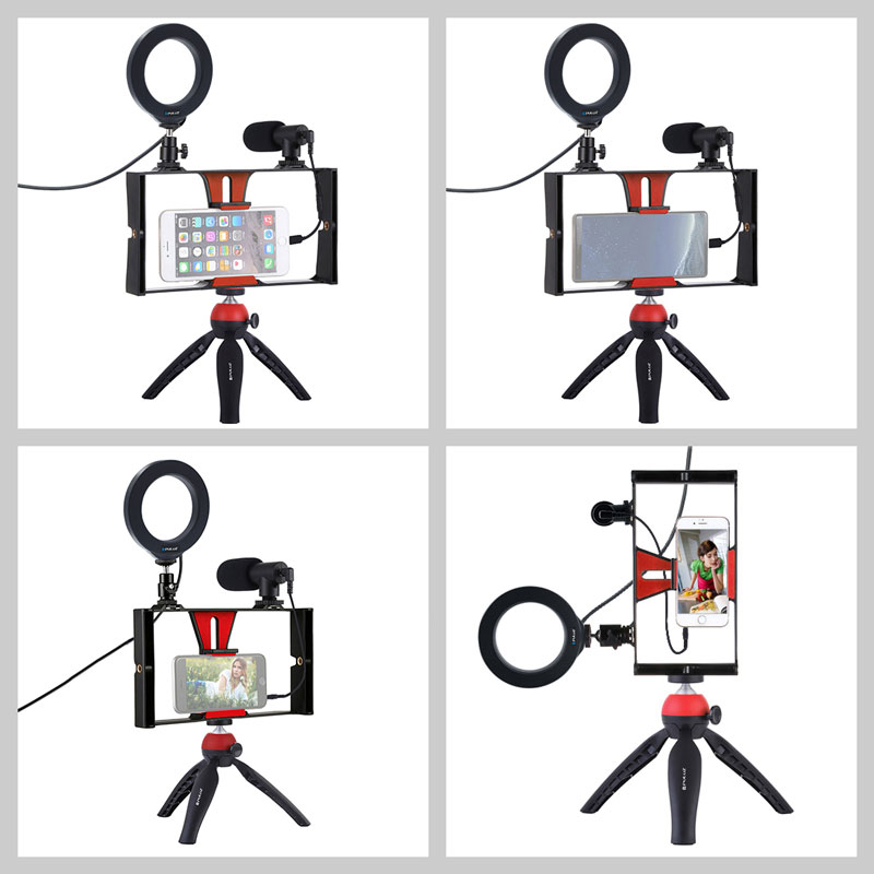 Image 2 - Mobile Phone Holder Tripod For Microphone Vlogging Rig Mount LED  Ring Lighting Bracket Stand Phone Photography AccessoriesPhone Holders