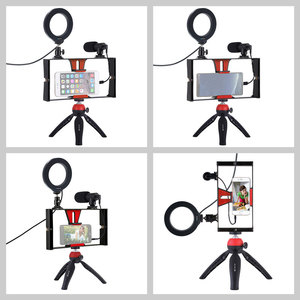 Image 2 - Mobile Phone Holder Tripod For Microphone Vlogging Rig Mount LED Ring Lighting Bracket Stand Phone Photography Accessories