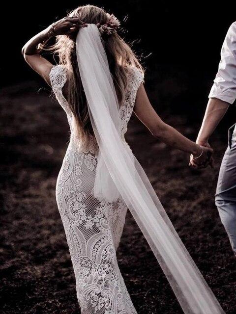 794#Deep V-Neck Sexy Backless Cap Sleeve Lace Sheath Boho Bohemian Wedding Bride Dress REAL PHOTO FACTORY PRICE CUSTOM MADE 2