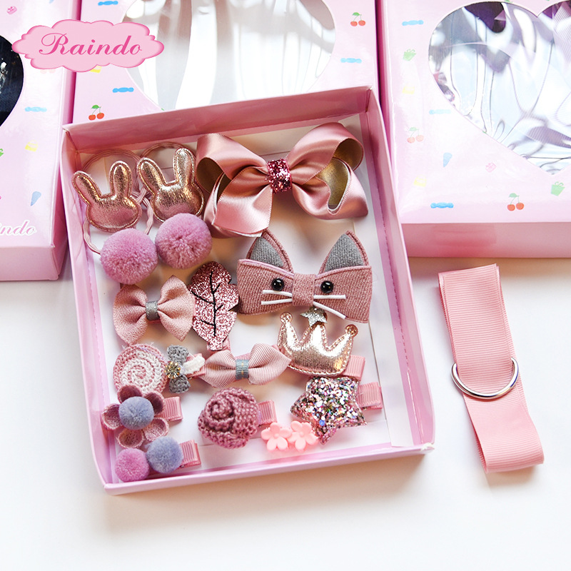 18pc Headwear Set  Girls Toys  Children Accessories Ribbon Bow Hair Clip Hairpins Girl Princess Hairdress Beauty & Fashion Toy