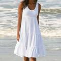 Модное женское однотонное короткое платье для отдыха, повседневное пикантное пляжное платье-качели, сарафан, летнее вечернее праздвечерни...