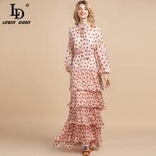 LD LINDA DELLA 2021 Sommer Mode Designer Maxi Lange Kleid frauen Bogen Halter Tiered Polka Dot Print Elegante Partei kleid Kleid