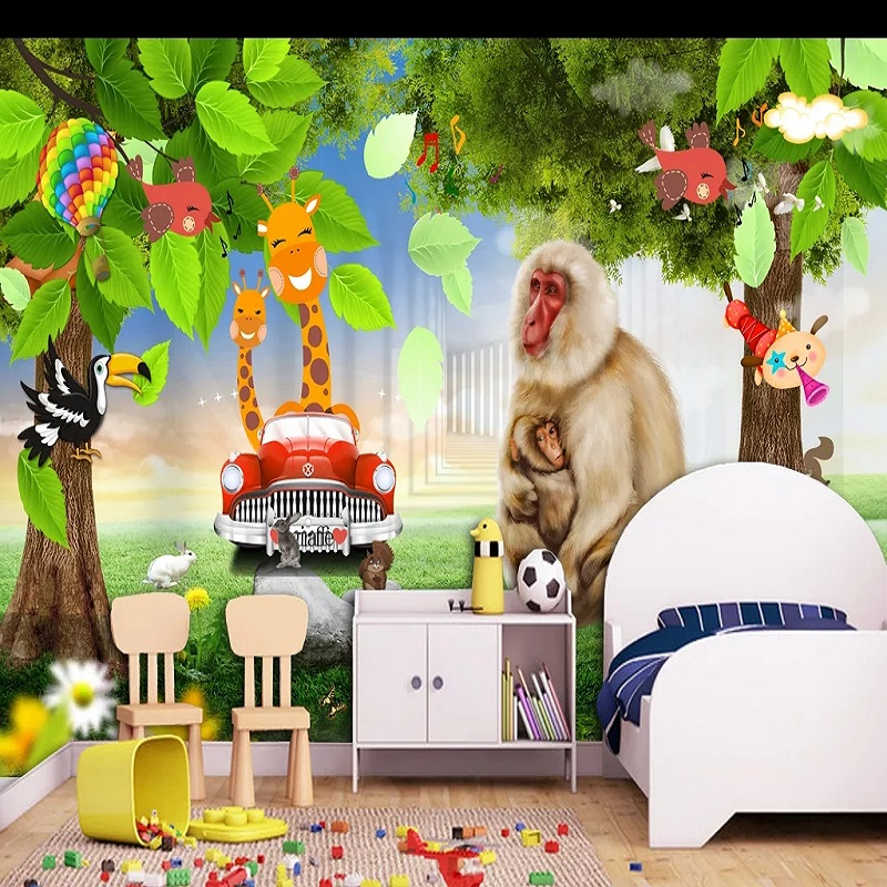 New Custom Large Mural 3D Wallpaper Cute Cartoon Animal Car Children's Bedroom Mural TV Back Wall Decor Deep 5D Embossed