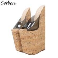 Sorbern Transparent 30cm Sandal Female Extreme High Heel Slip On Plastic Open Toe Cork Looks Wedges Summer Shoes Custom Color